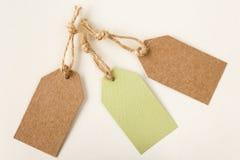 Prix à payer ou labels vides dans vert clair et brun Image libre de droits