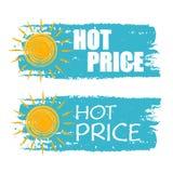 Prix chaud avec le signe jaune du soleil, labels dessinés bleus Images libres de droits