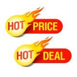 Prix chaud et étiquettes chaudes d'affaire Photo libre de droits