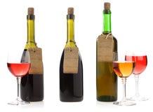 Prix d'étiquette de bouteille et d'étiquette de vin Photographie stock libre de droits
