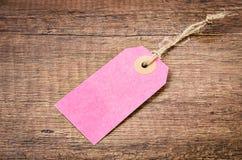 Prix de papier rose vide d'étiquette Photo libre de droits