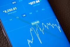 Prix des bitcoins sur le smartphone photos libres de droits