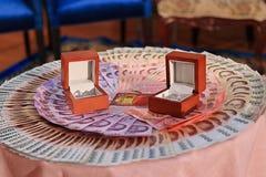 Prix ou dot du ` s d'anneau et de jeune mariée de mariage dans la cérémonie de mariage thaïlandaise Centre sélectif et profondeur Photo libre de droits