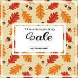 Prix saisonnier d'Autumn Traditional Holiday Shopping Discount de vente de jour de thanksgiving outre de bannière Photo libre de droits
