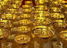 Prize. Golden cups on the table. Prize for winners stock images