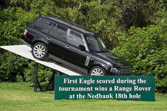 Prize for 1st Eagle. On display at the 18th hole for spectators & players to view, the Landrover Range Rover SUV, being offered up as the prize for the first Stock Images