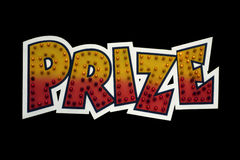 Prize. A prize sign isolated on a black background. With Clipping Path Royalty Free Stock Image