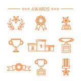 Prize award icon set. Prize and award icon set. Stock vector illustration of medal, trophy, cup for winning in sport and other competition. Outline style Royalty Free Stock Image