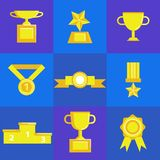 Prize award icon set. Prize and award icon set. Stock vector illustration of stars, trophy, cup for winning in sport and other competition. Flat style Royalty Free Stock Image