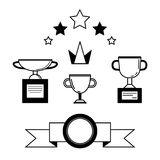 Prize award icon set. Prize and award icon set. Stock vector illustration of stars, trophy, cup for winning in sport and other competition. minimal black and Royalty Free Stock Images