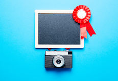 Prize Band, Kamera und Tafel Stockfotos