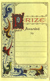 Prize certificate. Vintage prize certificate which was pasted to the inside cover of an old book in the fifties royalty free stock photos