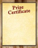 Prize certificate Stock Images