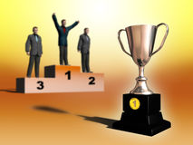 Prize cup. First place cup, businessmen on background. Digital illustration Stock Images