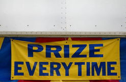 Prize Every Time Sign. Blue and Yellow Prize Every Time Carnival Fair Sign with Text Copy Space Stock Photos