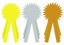 Prize Farbband-Rosette Stockfoto
