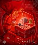 Prize hunter passion and devilish greed. The illustration of a devil prize hunter enjoying his devilish prizes chest Stock Photos