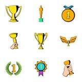 Prize icons set, cartoon style Royalty Free Stock Image