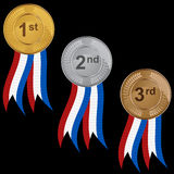 Prize Medals. Ribbon medal set isolated on a white background Royalty Free Stock Photo