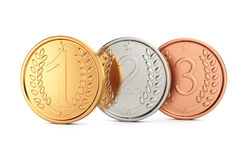 Prize medals. On white background. 3d render Stock Images