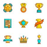Prize place icons set, cartoon style. Prize place icons set. Cartoon set of 9 prize place vector icons for web isolated on white background Stock Photos