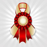 Prize ribbon. Red  prize ribbon with place for text Royalty Free Stock Photography