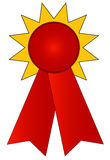 Prize ribbon. Blank gold and red prize ribbon - vector illustration Stock Photo