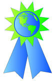 Prize ribbon made with earth. Green and blue ribbon made with earth or globe in the center Stock Photo