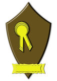 Prize ribbon rosette. A prize ribbon or rosette over a plain brown shield with a blank banner (point of sale, product label, advertising, awards Royalty Free Stock Images