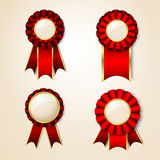 Prize ribbons. Set of  badges with place for text Royalty Free Stock Photos
