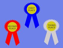 Prize Ribbons. An image of prize ribbons for first, second and third places Royalty Free Stock Photography