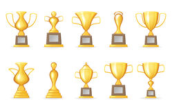 Prize Victory Award Realistic 3d Symbol Trophy Cup Icons Set Isolated Template Mock up Design Vector Illustration. Prize Victory Award Realistic 3d Symbol Trophy Stock Photo