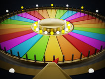 Prize wheel. With empty slices on black background stock illustration