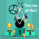 Prize-winning places on cycling Royalty Free Stock Image