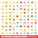 100 prizes and awards icons set, cartoon style. 100 prizes and awards icons set in cartoon style for any design vector illustration Royalty Free Stock Photo