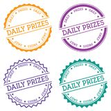 Daily prizes badge isolated on white background. Flat style round label with text. Circular emblem vector illustration Stock Image