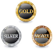 Prizes banners. Prizes round banners with brilliants Stock Images