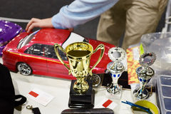 Prizes at competitions in racing cars on radio control Stock Images