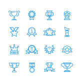 Prizes, trophy, awards vector outline icons Stock Photo