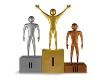 Prizetakers dourados do vencedor, da prata e do bronze no pódio. Vista dianteira ilustração do vetor