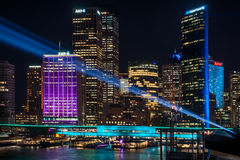 Prjections leggeri variopinti a Sydney viva Fotografia Stock