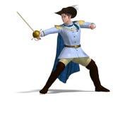 Príncipe do conto de fadas com espada e cabo Imagem de Stock