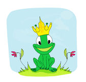 Príncipe personagem de banda desenhada da rã Imagens de Stock