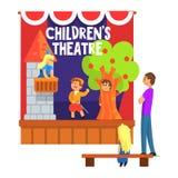 Príncipe Saving Princess From a cena da torre executada por crianças no teatro amador com outros alunos que olham com o professor Foto de Stock