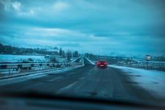 Prości śnieżni opona ślada - portret zdjęcie royalty free