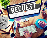 Prośby wymagania pragnienia rozkazu żądania pojęcie zdjęcia stock