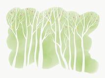 Prości Biali drzewa z okwitnięciem na Zielonym Watercolour tle Zdjęcie Stock