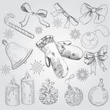 Prości Bożenarodzeniowi elementy od linii Ręka wektor i rysunki ilustracji