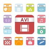 Prości kwadratowi kartoteka typ format etykietek ikony prezentaci dokumentu ustalony symbol i audio rozszerzenia grafiki multimed royalty ilustracja