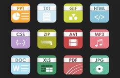 Prości kwadratowi kartoteka typ format etykietek ikony prezentaci dokumentu ustalony symbol i audio rozszerzenia grafiki multimed ilustracja wektor